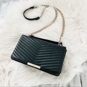 Nine West Black Quilted Chevron Silver Chain Purse